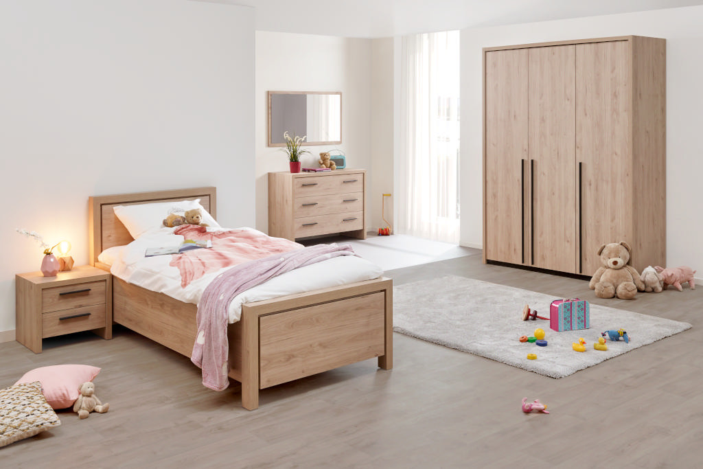 Bed 90x200 cm + nachttafel + kleerkast 3 deuren