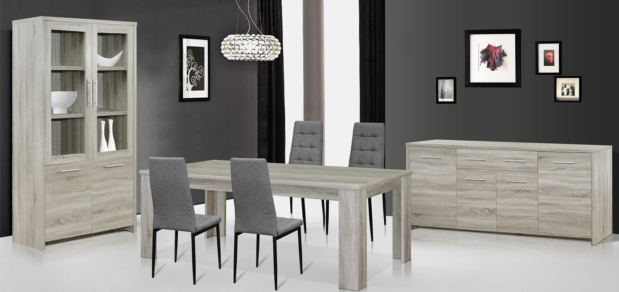 Eetkamer Amber, tafel + dressoir + vitrine + 4 stoelen