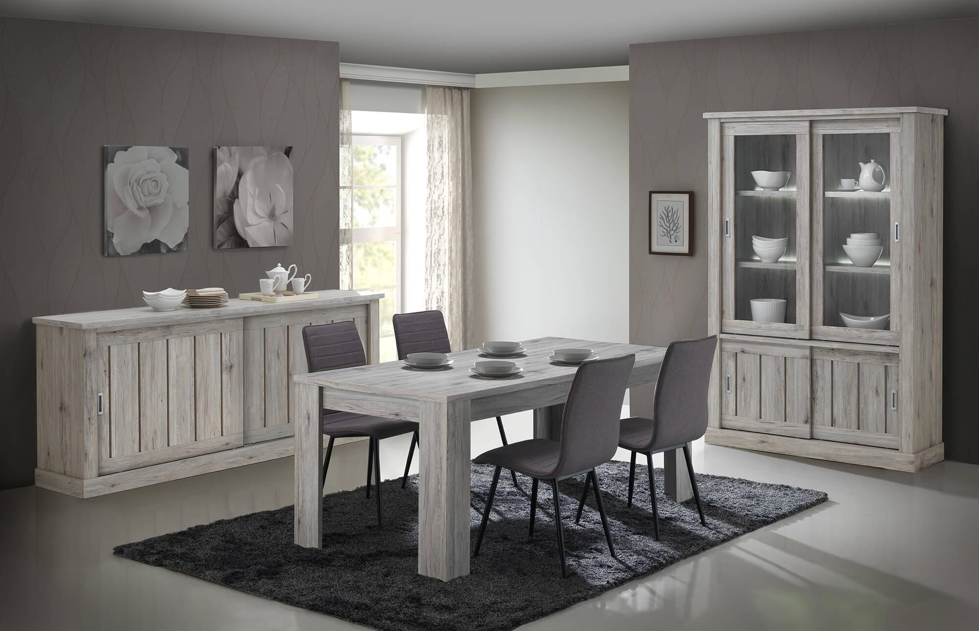 Eetkamer Frida, tafel + dressoir + vitrine + 4 stoelen