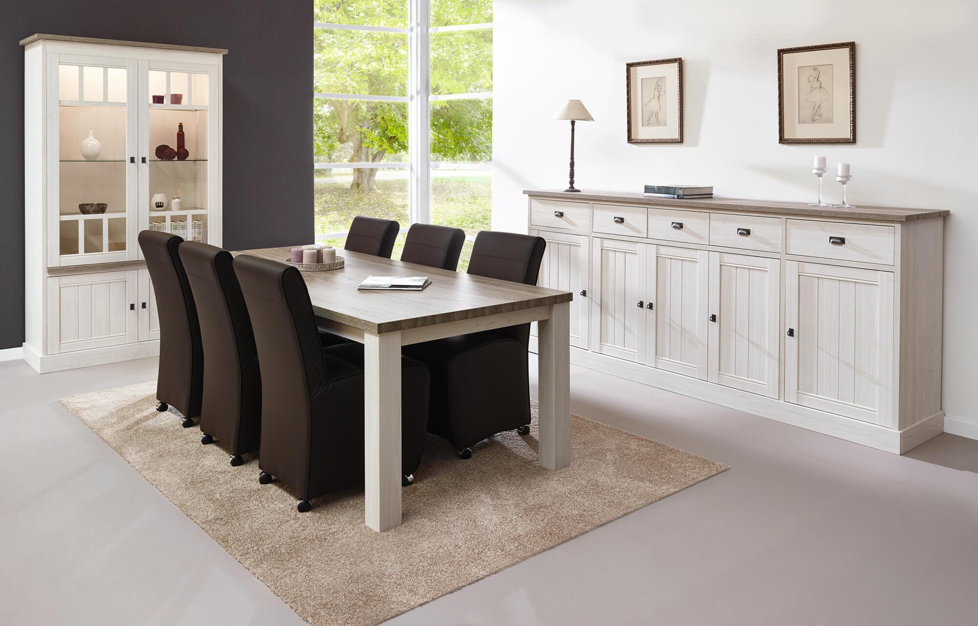 Eetkamer York, tafel + dressoir + barkast
