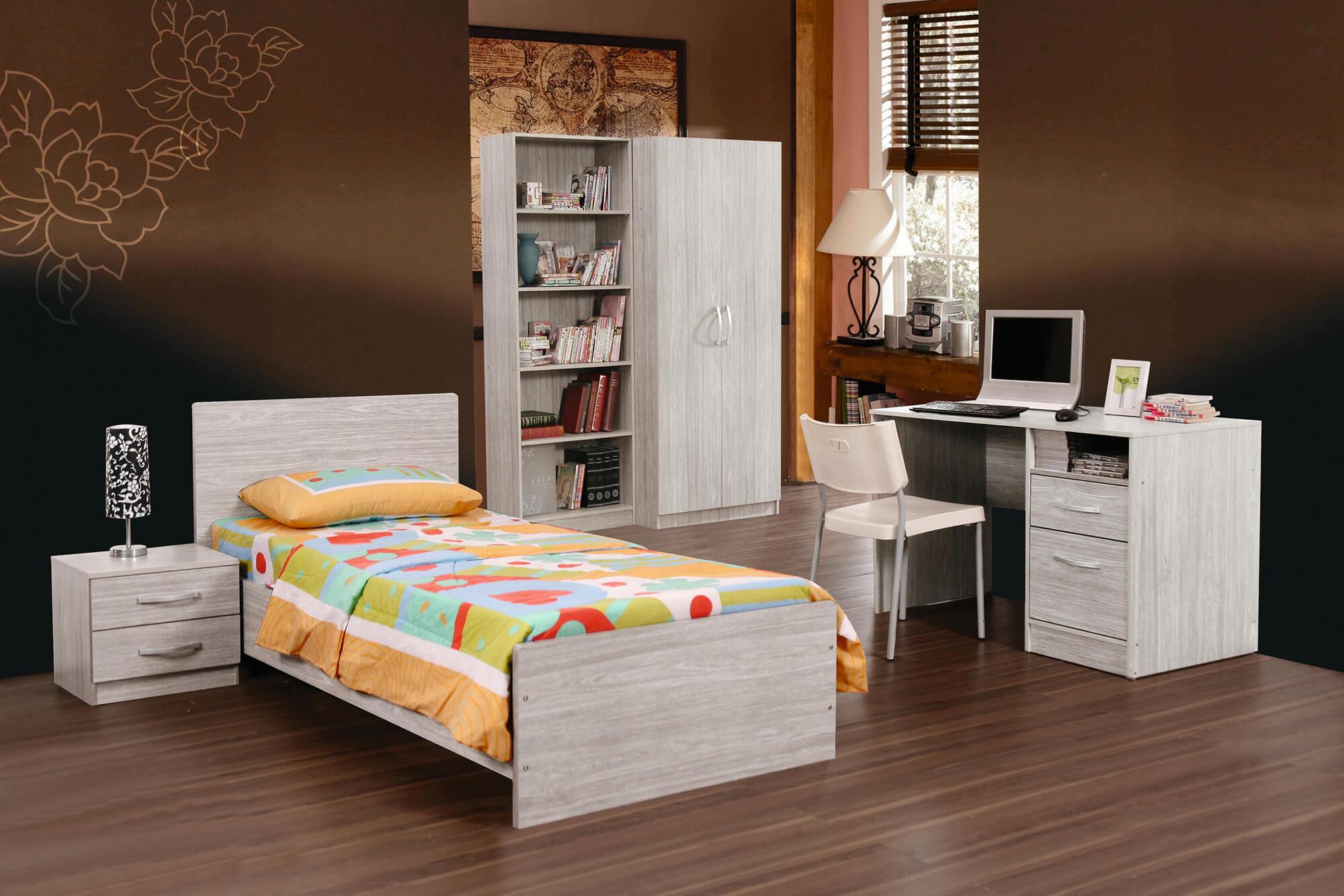 Jeugdslaapkamer Camila, bed 90x200 + nachttafel + kledingkast 80 cm