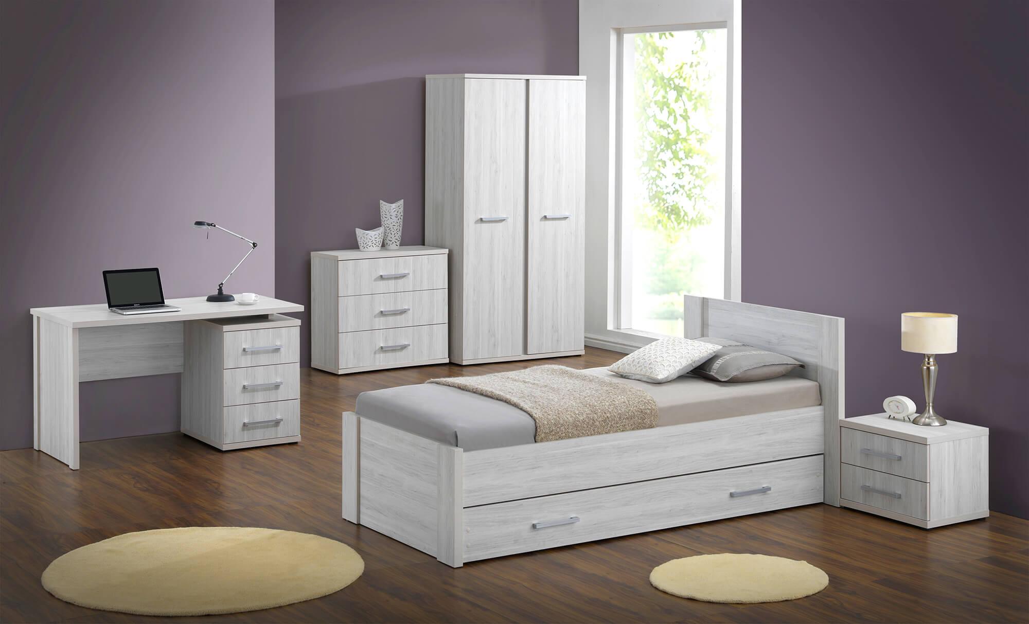 Jeugdslaapkamer Erika, bed 90x200 + nachttafel + kledingkast 105 cm