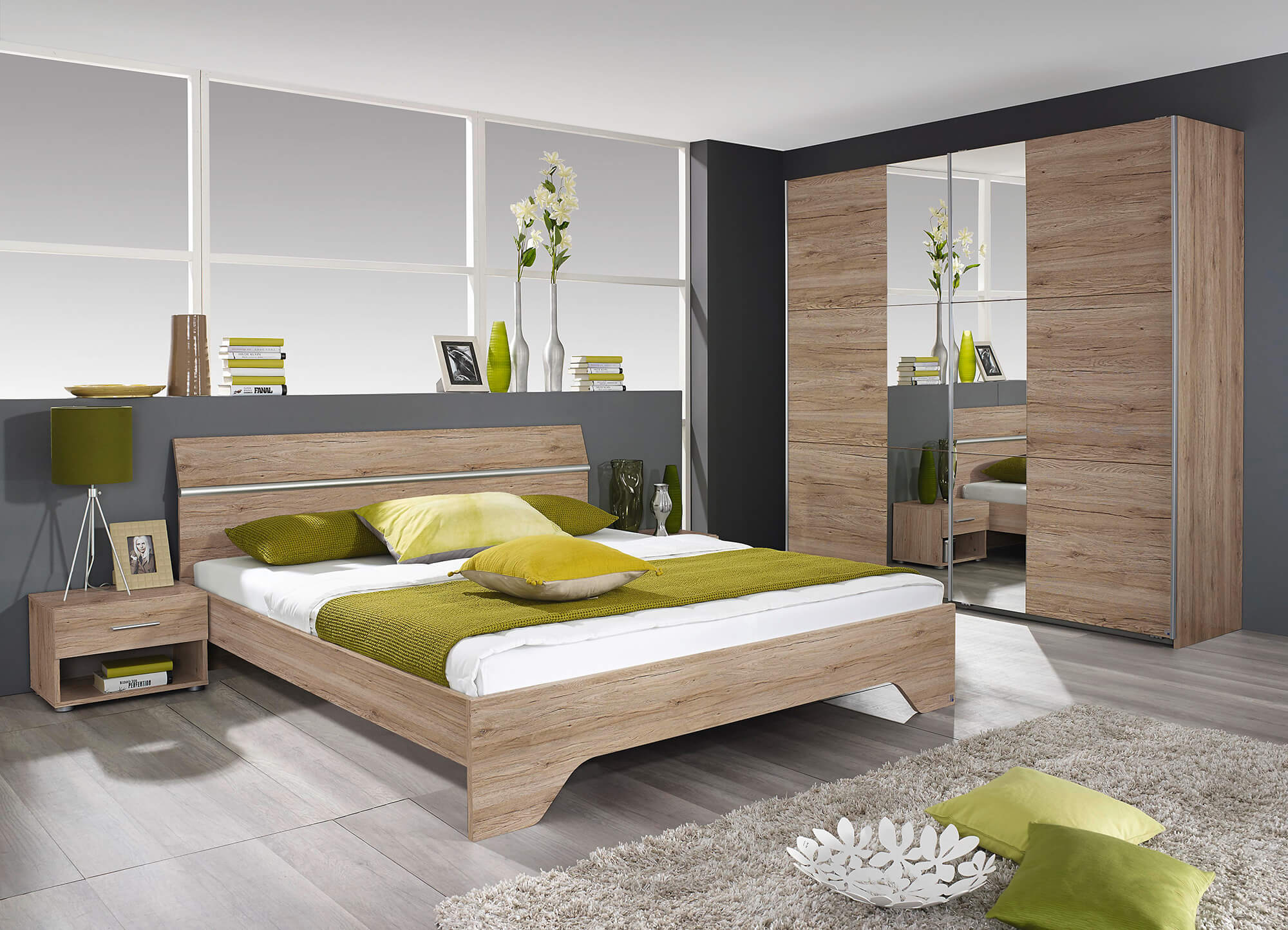 Slaapkamer Felbach, bed 160x200 + 2 nachttafels + kommode + kledingkast 220 cm