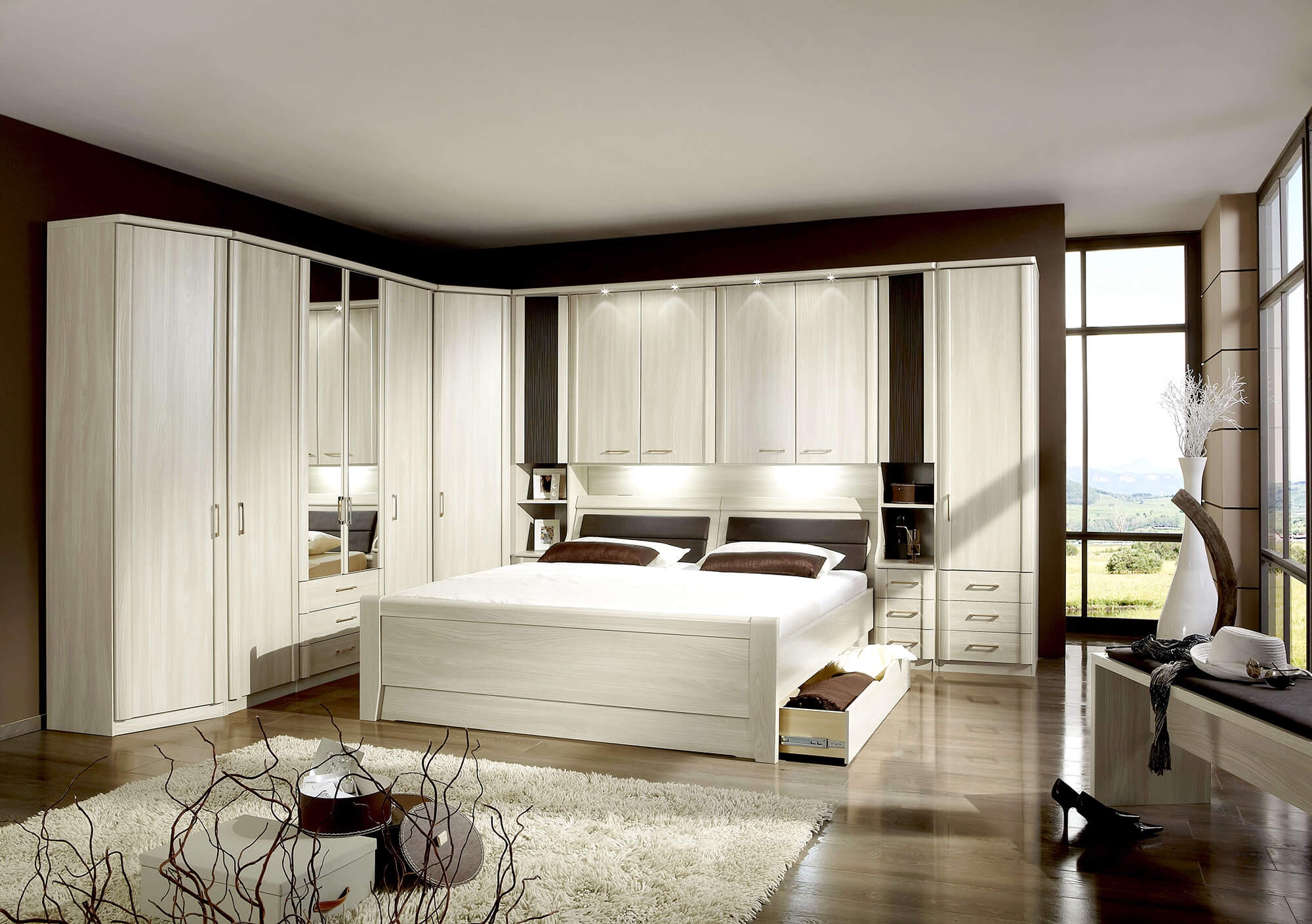 slaapkamer luxor bed 160x200 2 nachttafels bovenkasten inloopkast kommode kledingkast