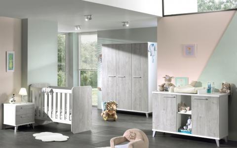 Omvormbaar babybed + babycommode + kledingkast 3 deuren