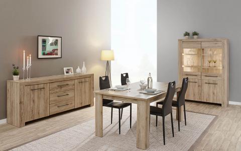 Eetkamer Elba, tafel + dressoir + vitrine + 4 stoelen