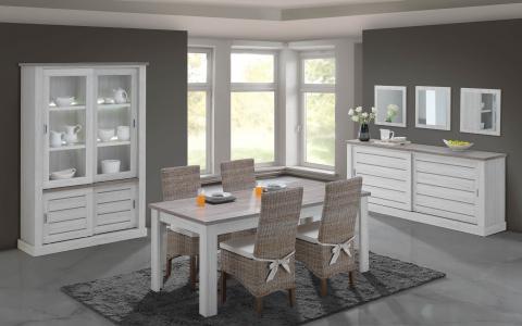 Salle à manger  Evi, table + buffet + armoire vitrée avec éclairage LED + 4chaises