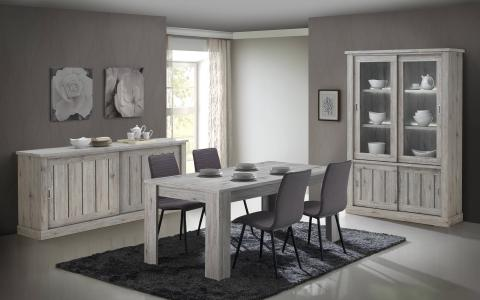 Salle à manger  Frida, table + buffet + vitrine + 4 chaises