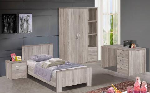 Jeugdslaapkamer Holly, bed 90x200 + nachttafel + bureel + kledingkast 120 cm