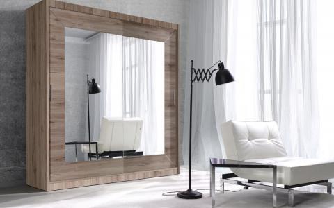 Garde-robe alfa,  avec deux portes coulissantes à miroir