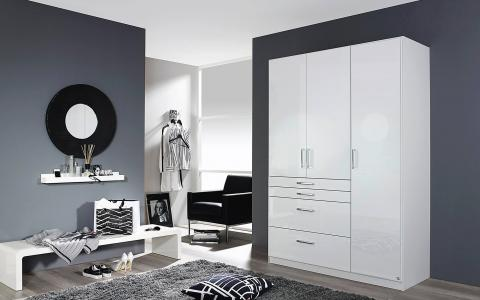 Kledingkast Homburg, kledingkast 2 deuren, 2 spiegeldeuren en 4 laden
