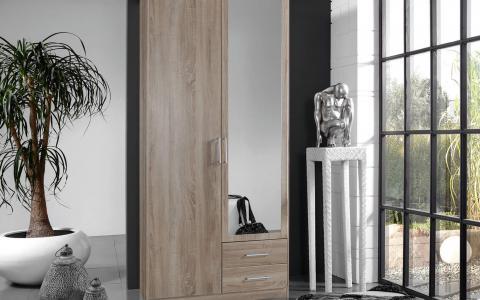 Kledingkast Omega, Kledingkast 2 deuren 1 spiegel + 2 laden