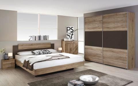 Slaapkamer Borba, bed 160x200 + 2 nachttafels + kommode + kledingkast 218 cm