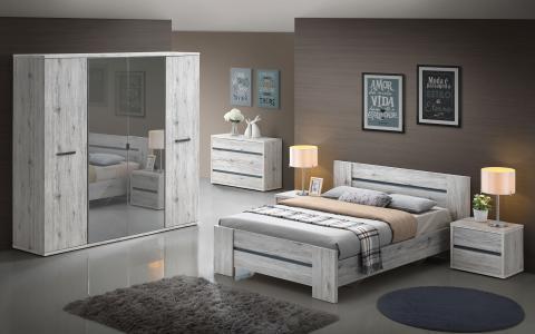 Chambre à coucher Evi, Lit 160x200cm + 2 tables de nuit + commode + garde-robe 2 portes coulissantes