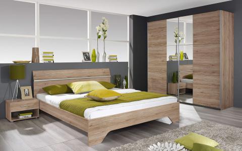 Chambre à coucher  Felbach,lit 160 x 200cm + 2tables de nuit + commode + garde-robe 220cm