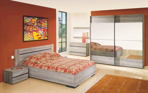 Chambre à coucher  Greta, lit 160 x 200cm, traverses incluses + 2tables de nuit + garde-robe 220cm