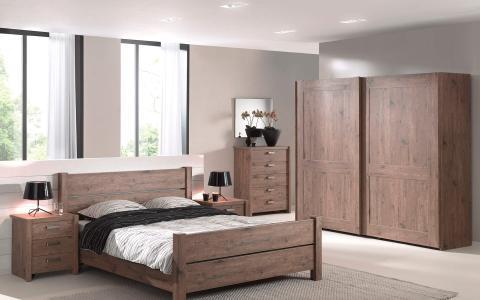 Slaapkamer Isa-N, bed 160x200 + 2 nachttafels + kledingkast 250 cm