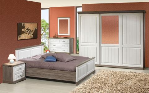 Slaapkamer Ivette, bed 160x200 incl. dwasbalken + 2 nachttafels + kommode + kledingkast 260 cm
