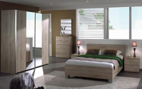 Chambre à coucher  Luna, lit 160 x 200cm + 2tables de nuit + commode haute + garde-robe 250cm