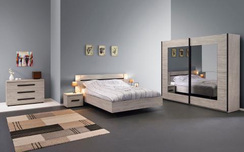 Chambre à coucher Margot B, lit 160 x 200cm + 2tables de nuit + commode + garde-robe 250 cm
