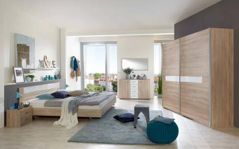 Slaapkamer Pamela, bed 160x200 + 2 nachttafels + kledingkast 225 cm