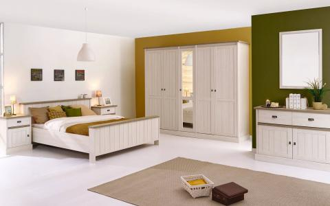 Slaapkamer York, bed 160x200 + 2 nachttafels + kommode + kledingkast 258 cm